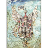 Decoupage-arkki - A4 - Lady Vagabond Flying Ship