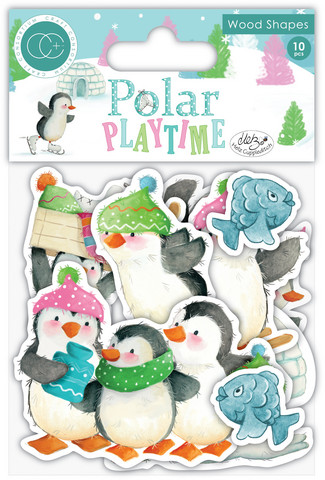 Vanerikoristeet - Polar Playtime Printed Wood Shapes