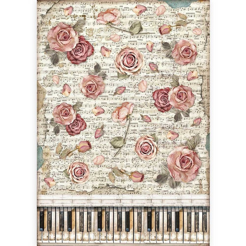 Decoupage-arkki - A3 - Passion Roses and Piano