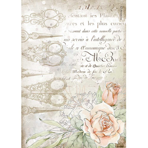 Decoupage-arkki - A4 - Romantic Threads Scissors and Roses