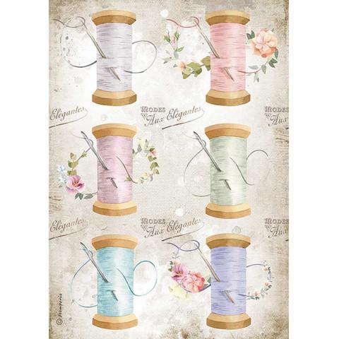 Decoupage-arkki - A4 - Romantic Threads Needle & Thread