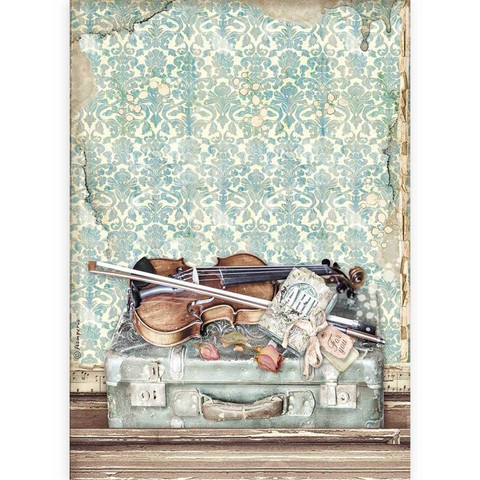 Decoupage-arkki - A4 - Passion Violin and Travelling