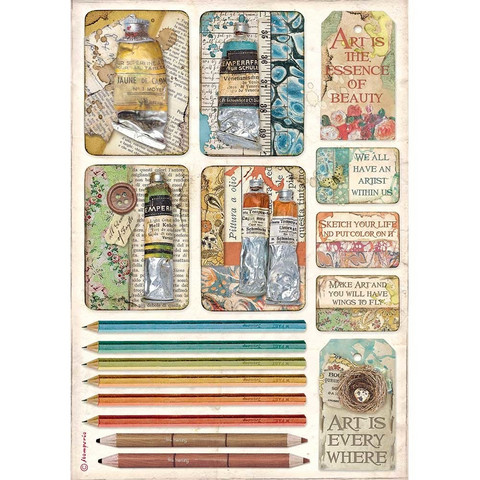 Decoupage-arkki - A4 - Atelier Tubes of Paints and Pencils