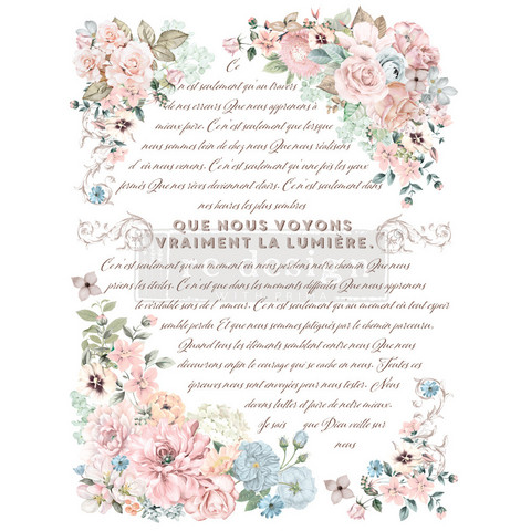 Siirtokuva - 60 x 88 cm - Pure Light Floral - Prima Redesign Decor Transfer