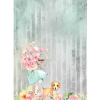 Decoupage-arkki - A4 - Circle of Love Bouquet and Dog