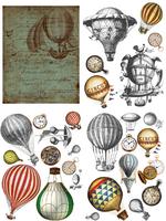 Siirtokuva - 61 x 81 cm -  Hot Air Balloons & Clocks - Belles and Whistles