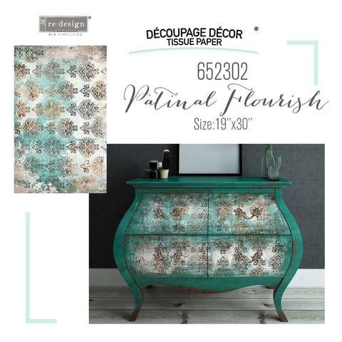 Decoupage-arkki - 48x76 cm - Patina Flourish - Prima Redesign Tissue Paper