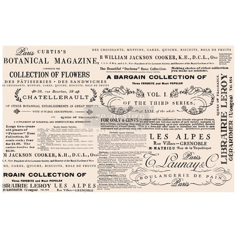 Decoupage-arkki - 48x76 cm - Floral Text - Prima Redesign Tissue Paper