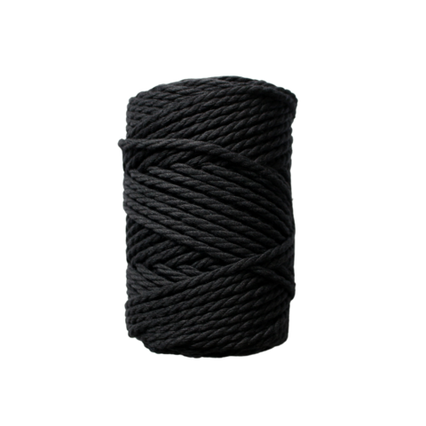 Makramee-kierrenaru 3 mm - Musta