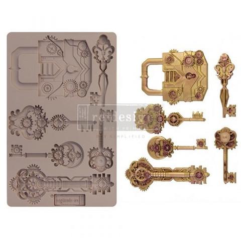 Silikonimuotti - 20x13 cm - Prima Re-Design - Mechanical Lock & Keys