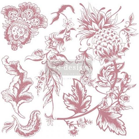 Leimasinsetti - 30x30 cm - Prima Re-design Decor Stamp - Rustic Floral Elements