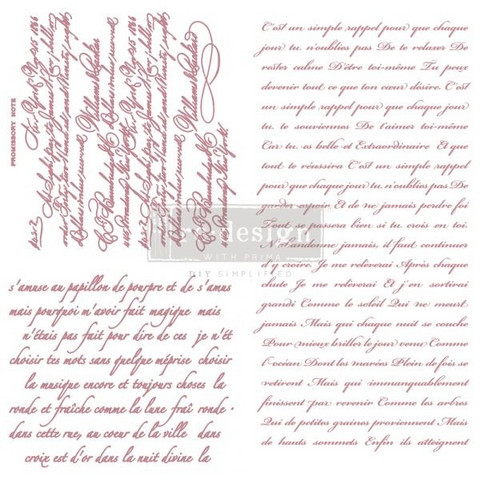 Leimasinsetti - 30x30 cm - Prima Re-design Decor Stamp - Vintage Script
