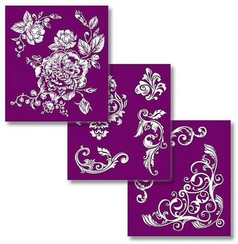 Sabluunasetti  20 x 22 cm - Floral Silkscreen Stencil
