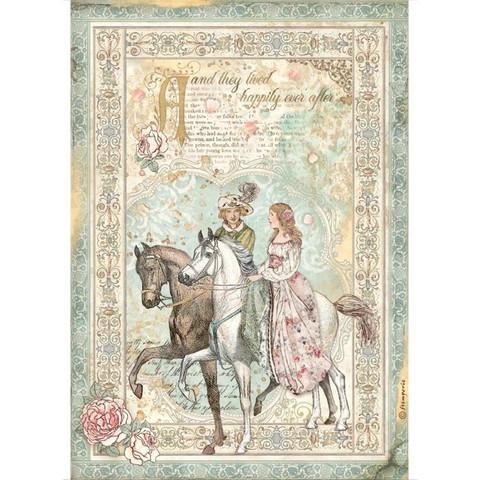 Decoupage-arkki - A4 - Sleeping Beauty Prince on Horse