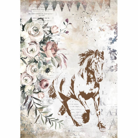Decoupage-arkki - A4 - Romantic Horses Running Horse