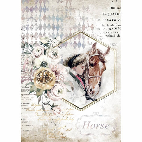 Decoupage-arkki - A4 - Romantic Horses Lady Frame