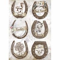 Decoupage-arkki - A4 - Romantic Horses Horseshoes