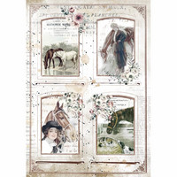 Decoupage-arkki - A4 - Romantic Horses 4 Frames