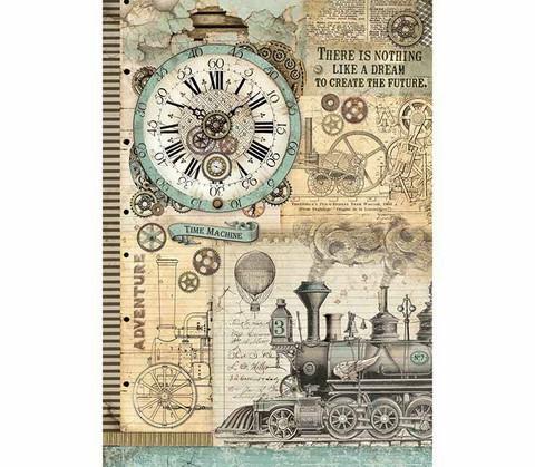 Decoupage-arkki - A3 -  Voyages Fantastiques Clock