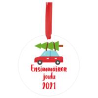 Joulukoriste 7 cm - Ensimmäinen joulu 2021 - Kuusi katolla