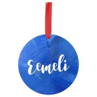 Nimikoitava joulukoriste - 7 cm - Sininen