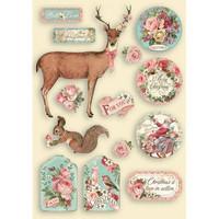 Vanerikoristeet - Levyn koko 14,8x21 cm - Stamperia Pink Christmas