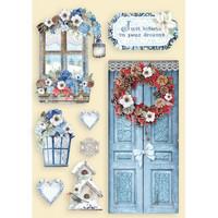 Vanerikoristeet tonttuovi - Levyn koko 14,8x21 cm - Stamperia Ro Winter Tales Door & Window
