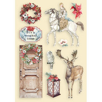 Vanerikoristeet tonttuovi - Levyn koko 14,8x21 cm - Stamperia Winter Tales Horse & Deer