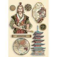 Vanerikoristeet - Levyn koko 14,8x21 cm - Stamperia Sir Vagabond in Japan Samurai