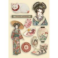 Vanerikoristeet - Levyn koko 14,8x21 cm - Stamperia Sir Vagabond in Japan Lady