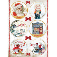 Decoupage-arkki - A4 - Romantic Christmas Rounds Stamperia