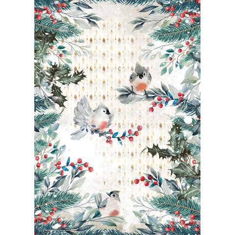 Decoupage-arkki - A4 - Romantic Christmas Birds Stamperia