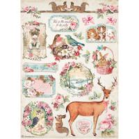 Decoupage-arkki - A4 -  Pink Christmas Deer Stamperia