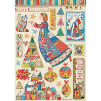 Decoupage-arkki - A4 - Christmas Patchwork Elements Stamperia