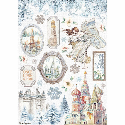 Decoupage-arkki - A4 - Winter Tales Castle Stamperia