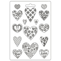 Muotti - A4 - Stamperia Soft Mould Christmas Patchwork Hearts