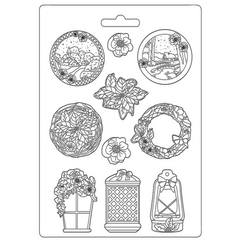 Muotti - A4 - Stamperia Soft Mould Winter Tales Garland