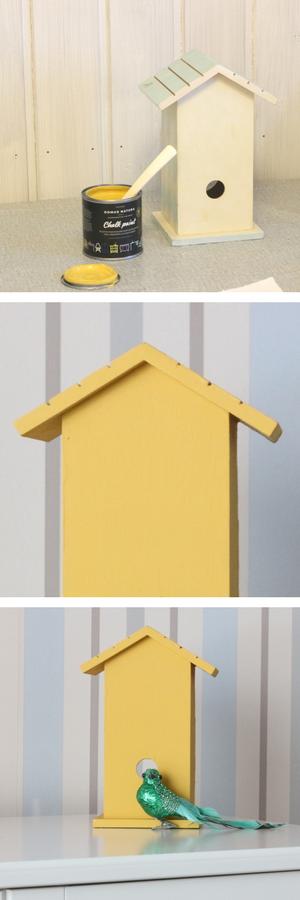 Linnunpöntön kalkkimaalaus Domus Natura -kalkkimaalilla Mimosa Yellow.
