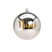 Joulupallo nimellä - 10 cm - Hopeinen