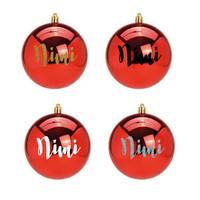 Joulupallo nimellä - 10 cm - Punainen