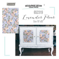 Decoupage-arkki - 48x76 cm - Lavender Fleur - Prima Redesign Tissue Paper