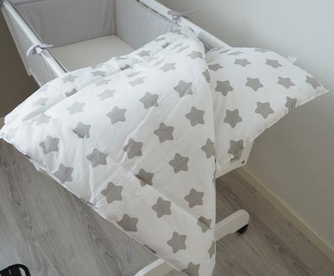 Vauvapeitto+tyyny, valkoinen / harmaa tähti