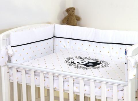 Reunapehmuste, pussilakana ja tyynynliina, Eimi, Golden Dot - Panda - 360cm