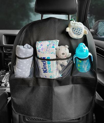 Caretero istuinsuoja / säilytyslokerikko / potkusuoja, auton selkänojaan kiinnitettävä