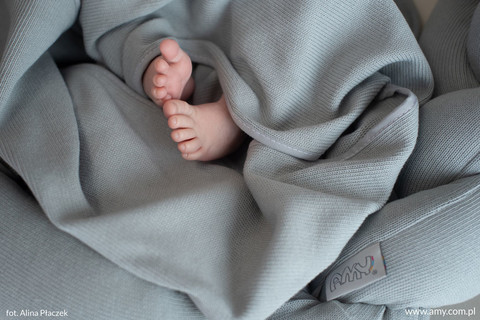 Vauvan kudottu peite, vauvapeite, Harmaa, 110cm x 72cm (Pure Grey)