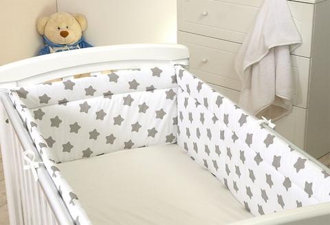 Reunapehmuste 140x70cm pinnasänkyyn, Eimi, valkoinen - harmaa tähti 1. - 420cm