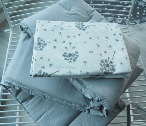 Reunapehmuste, pussilakana ja tyynynliina, Eimi, Pure Grey + Voikukka