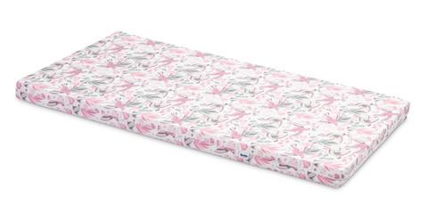 Pinnasängyn patja, vaahtomuovi, 120 x 60 x 6cm, roosat linnut