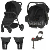 Britax B-Motion 4 Travel System: Rattaat, Britax -turvakaukalo, jalusta + adapterit