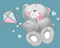 Amme 84cm, liukueste+tulppa, Bears, valkoinen